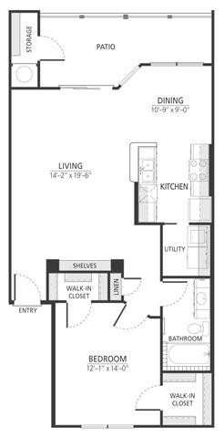 878 sq. ft. A3 floor plan