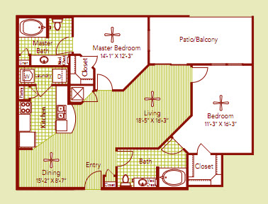 1,197 sq. ft. PROVENCE floor plan