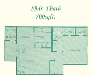 700 sq. ft. Abberly floor plan