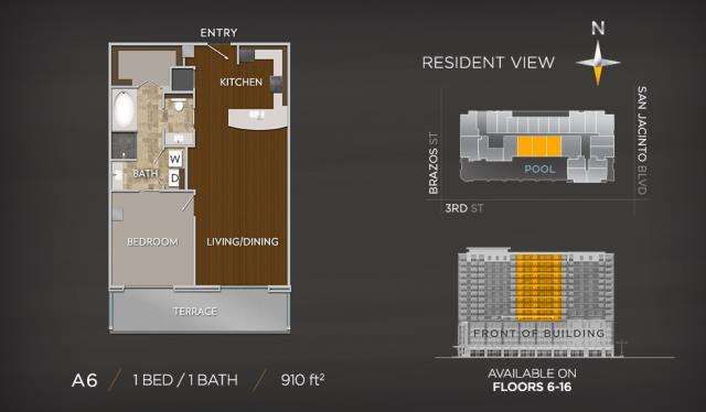 910 sq. ft. A6 floor plan