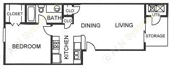 594 sq. ft. A2 floor plan