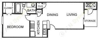 594 sq. ft. A2 floor plan