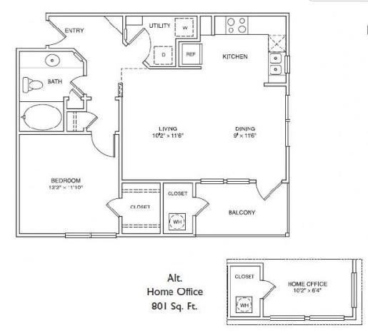 729 sq. ft. LA2 floor plan