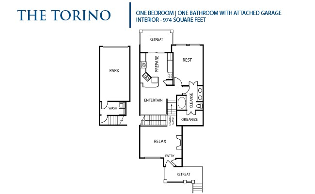 974 sq. ft. A6 floor plan