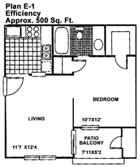 480 sq. ft. EFF floor plan