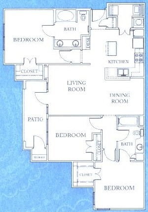1,405 sq. ft. C1 floor plan