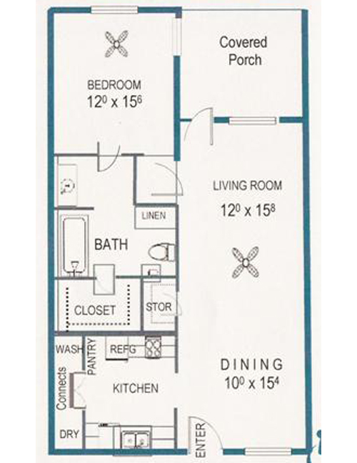 874 sq. ft. 60% floor plan
