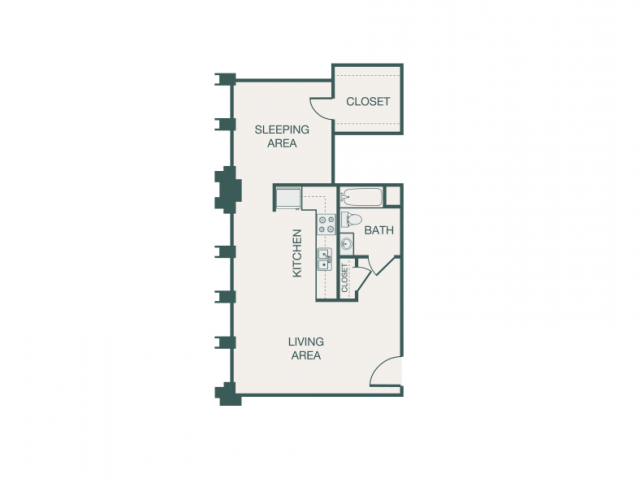 617 sq. ft. F/F2A/J/JA floor plan