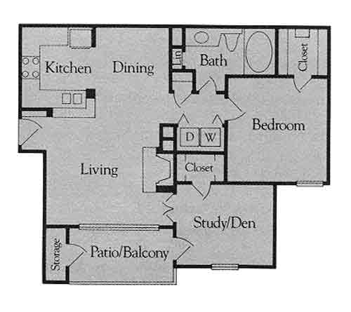 867 sq. ft. A3 floor plan