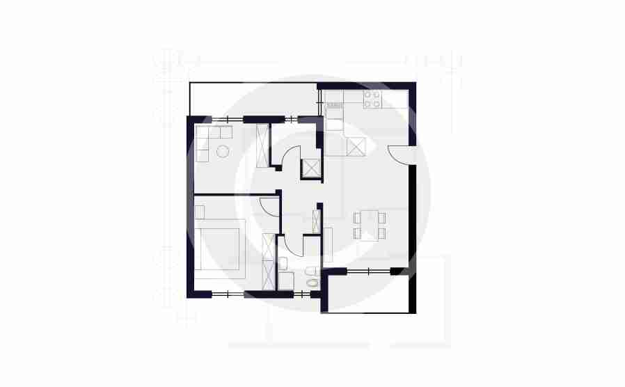 645 sq. ft. floor plan