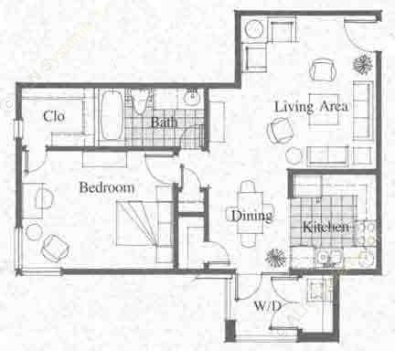 633 sq. ft. floor plan