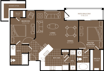 1,046 sq. ft. to 1,136 sq. ft. Munich floor plan