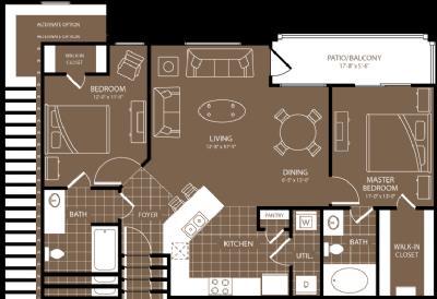 1,046 sq. ft. to 1,136 sq. ft. Munich floor plan
