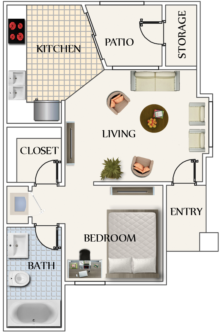 486 sq. ft. Studio floor plan