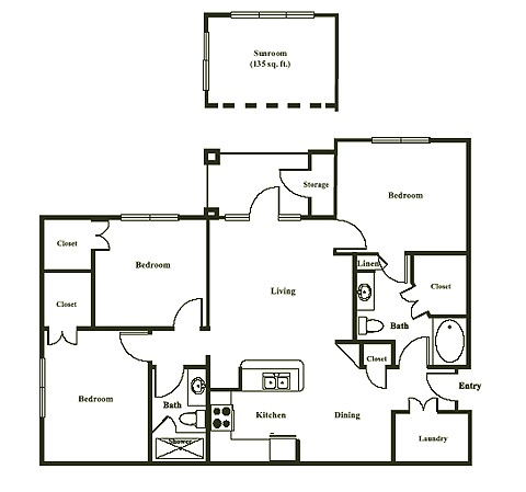 1,266 sq. ft. BARCELONA floor plan