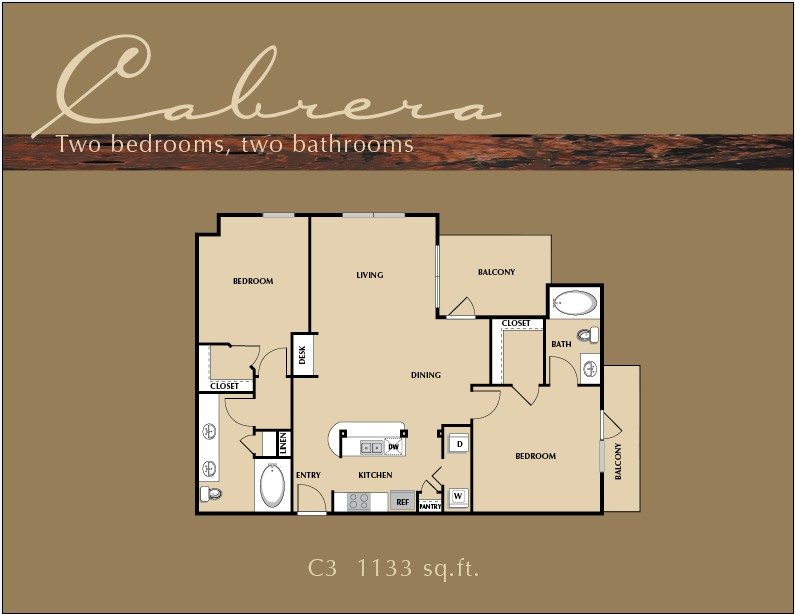 1,133 sq. ft. B3 floor plan