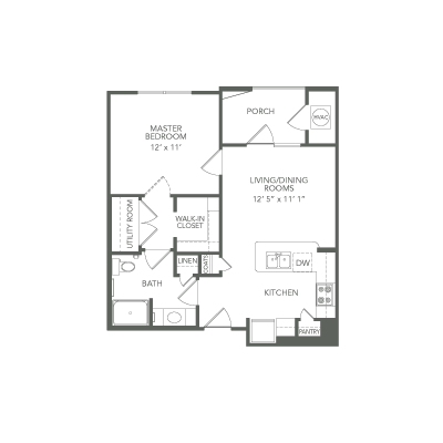 610 sq. ft. 30% Soar floor plan