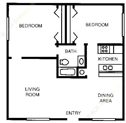 924 sq. ft. 60% floor plan