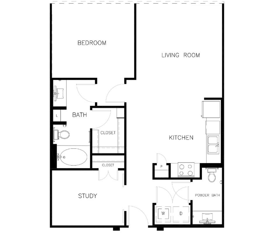 908 sq. ft. A2 floor plan