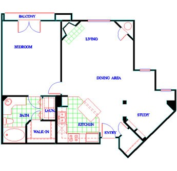 952 sq. ft. A2 floor plan