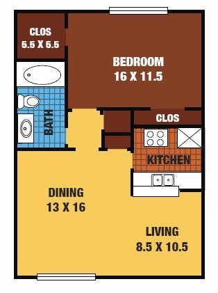 742 sq. ft. 60% floor plan