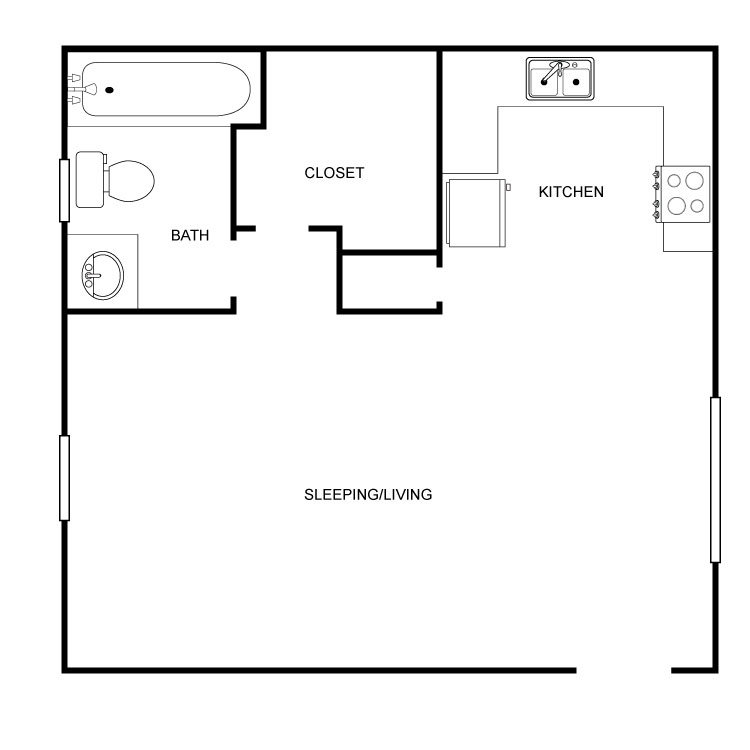 502 sq. ft. floor plan