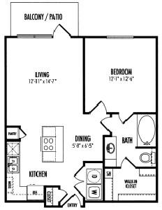 673 sq. ft. Aberdeen A1 floor plan
