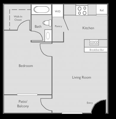 510 sq. ft. A floor plan