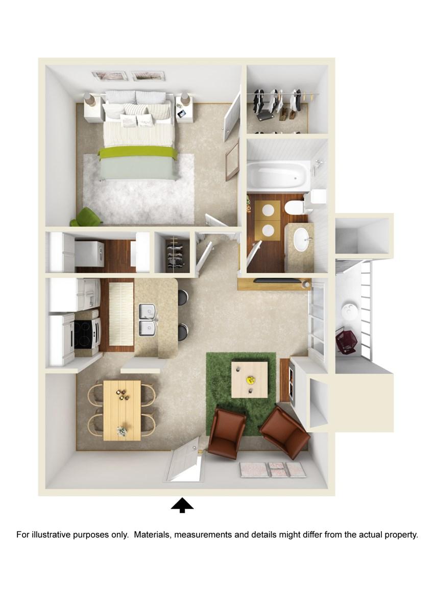 600 sq. ft. A2 floor plan