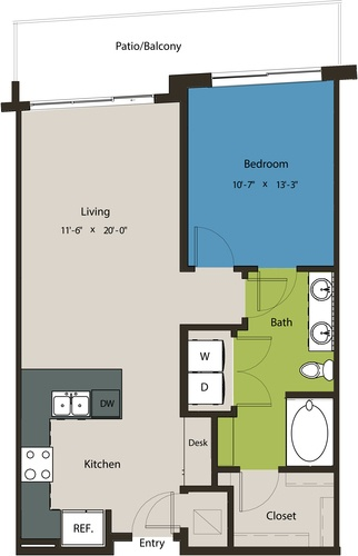 780 sq. ft. A8G-A floor plan