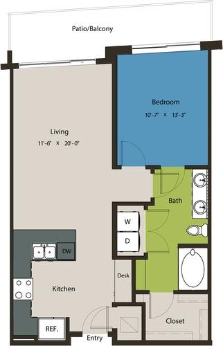 780 sq. ft. A8G-A floor plan