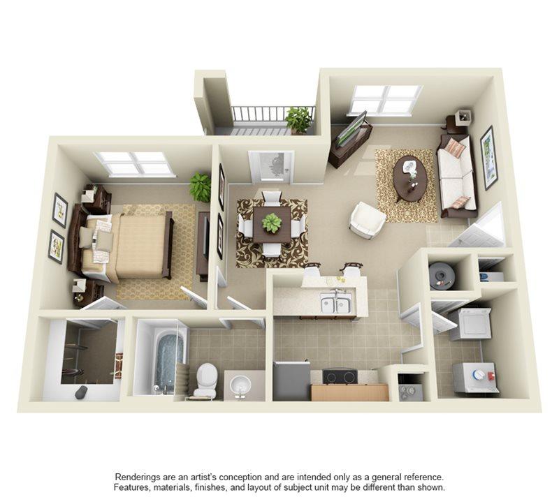 678 sq. ft. A1 floor plan
