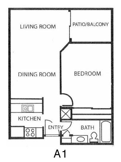 651 sq. ft. A1 floor plan