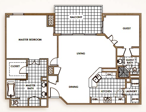 1,348 sq. ft. to 1,438 sq. ft. floor plan