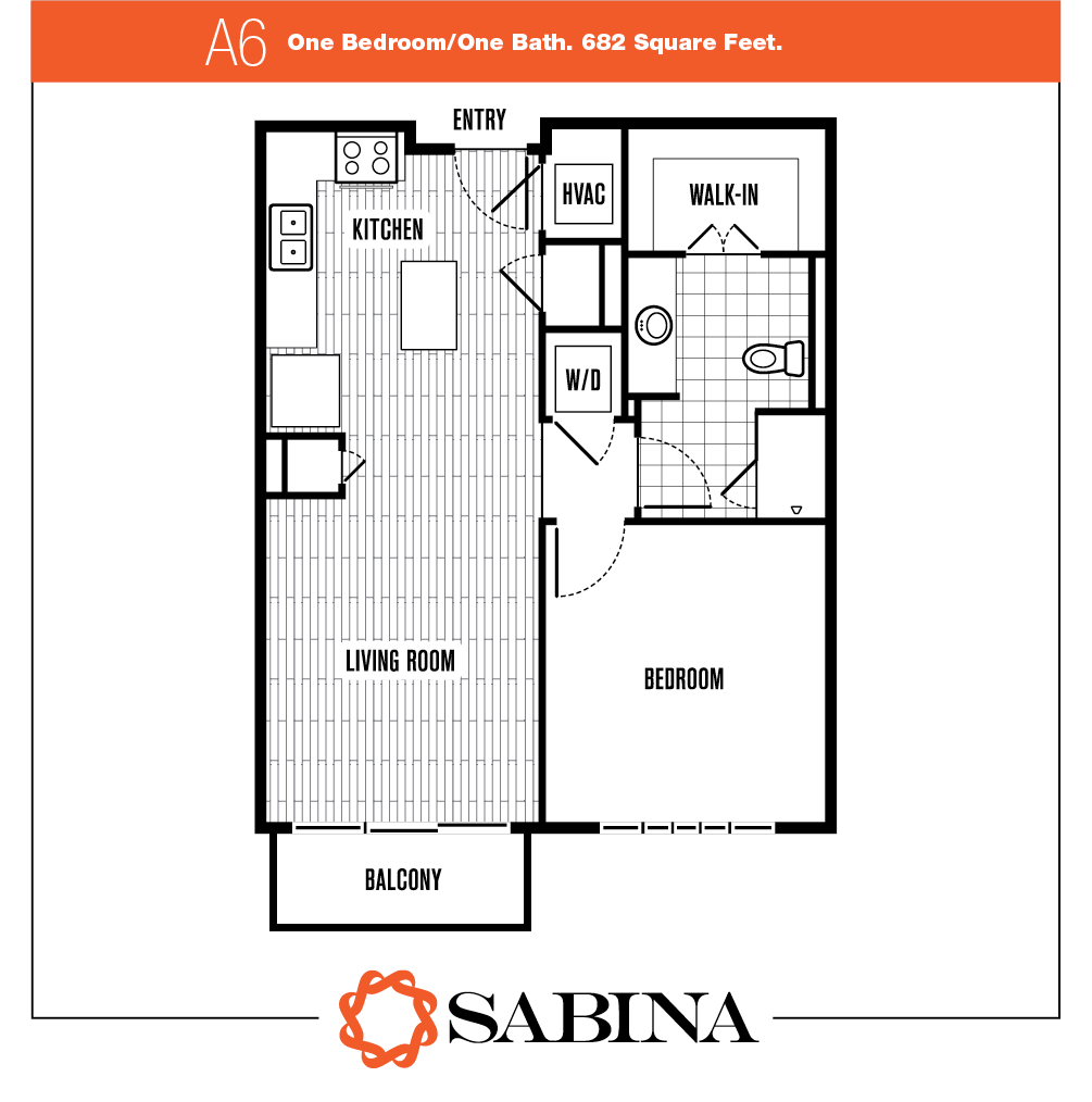 682 sq. ft. A6 floor plan