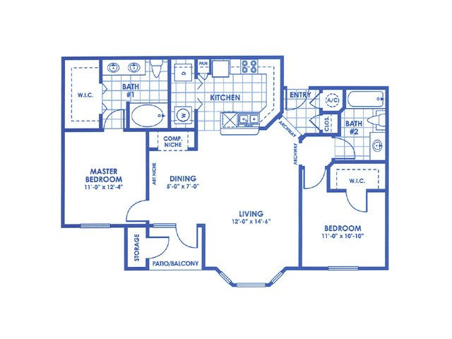 1,051 sq. ft. B2 floor plan