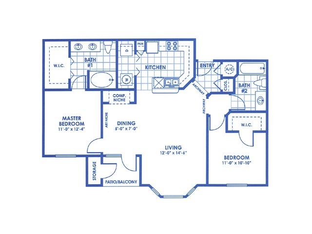 1,051 sq. ft. Trinity floor plan