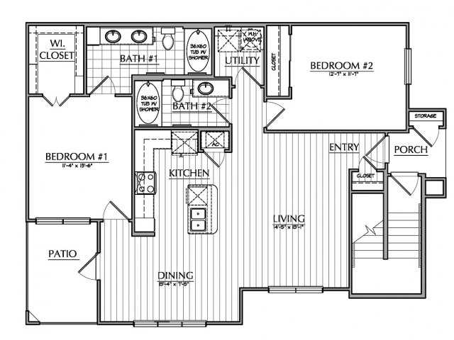 1,160 sq. ft. B1.1 floor plan