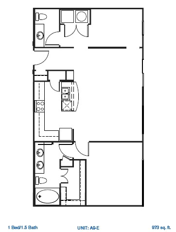 702 sq. ft. 2A1AVAH floor plan