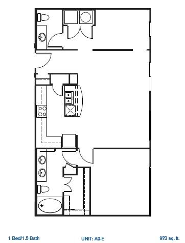 1,079 sq. ft. A9-E floor plan