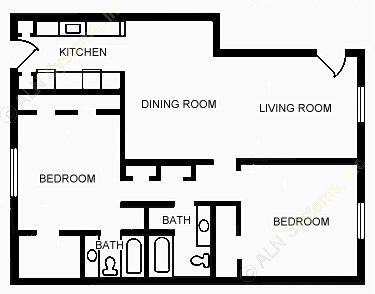 1,200 sq. ft. B5 floor plan