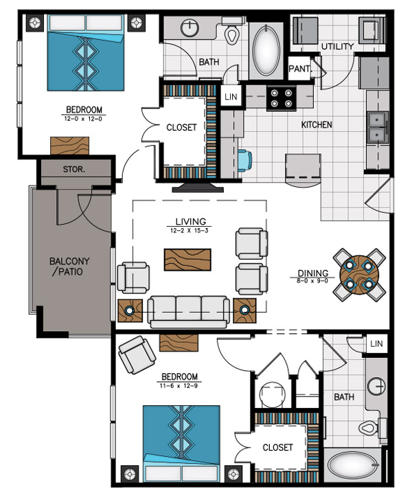 1,072 sq. ft. B1 floor plan