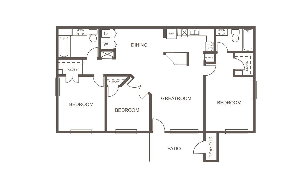 1,081 sq. ft. 60% floor plan