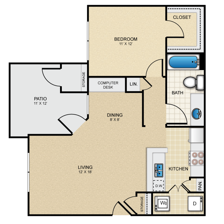 764 sq. ft. Guadalupe floor plan