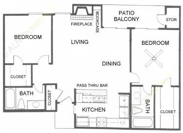 969 sq. ft. B3 floor plan