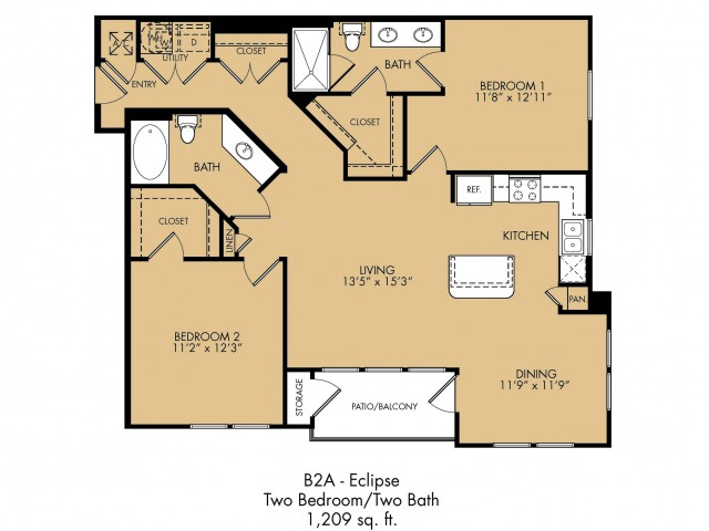 1,209 sq. ft. Eclipse floor plan