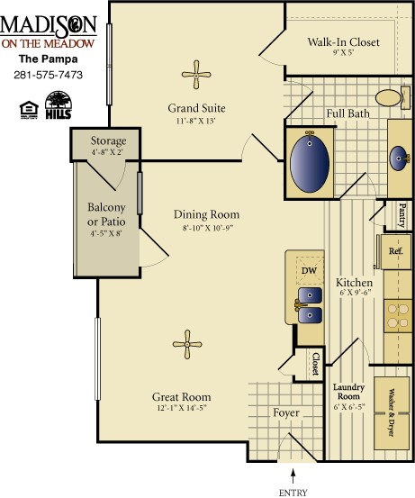 777 sq. ft. Pampa floor plan