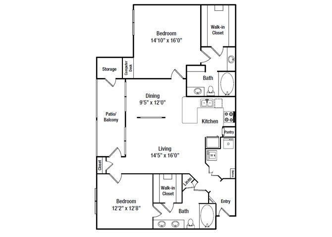 1,239 sq. ft. B8 floor plan