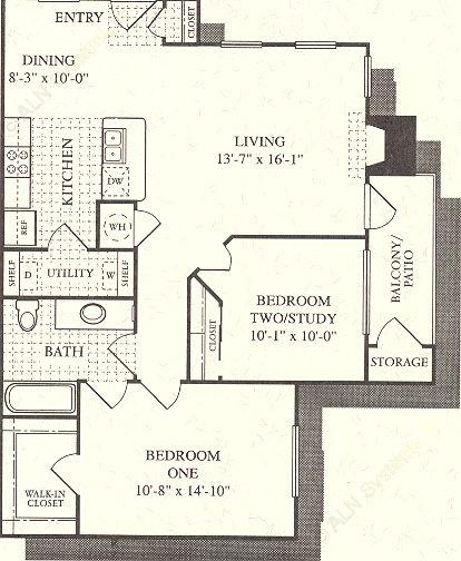 910 sq. ft. Mirage floor plan