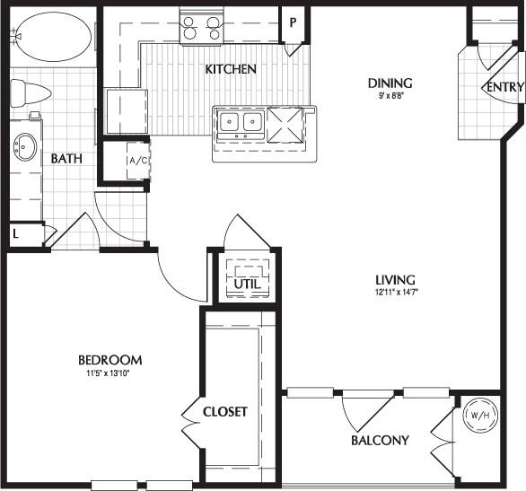 751 sq. ft. GASTON floor plan